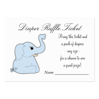 Blue Elephant Diaper Raffle Tickets Large Business Card