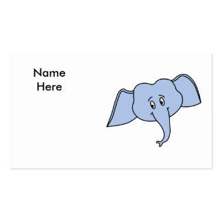 Blue Elephant Face. Cartoon Business Card