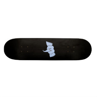 Blue Elephant Face. Cartoon Skate Board Deck