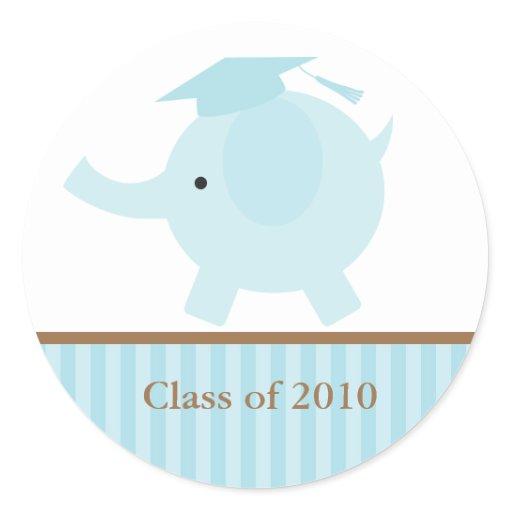 Blue Elephant Graduation Envelope Seals