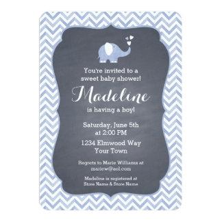 "Blue Elephant Heart 5"" X 7"" Invitation Card"