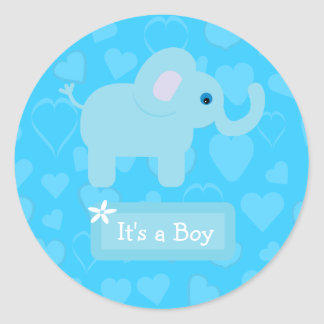 Blue Elephant & Hearts Baby Boy Announcement Classic Round Sticker
