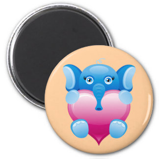 BLUE ELEPHANT HOLDING A PINK HEART 2 INCH ROUND MAGNET