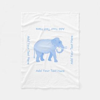 Blue Elephant - Indian Elephant - Baby Boy Fleece Blanket