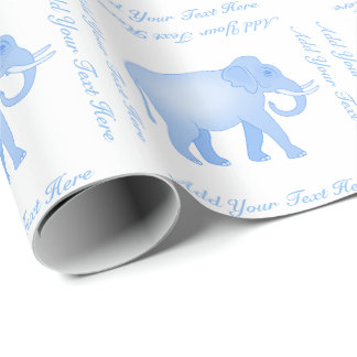 Blue Elephant - Indian Elephant - Baby Boy Wrapping Paper