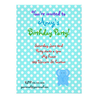 Blue elephant invitation on polka dots