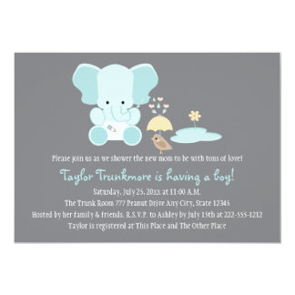 Blue Elephant Little Bird Baby Shower 5x7 Paper Invitation Card