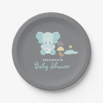 Blue Elephant Little Bird Baby Shower Paper Plate