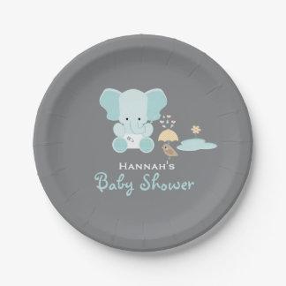 Blue Elephant Little Bird Baby Shower Paper Plate