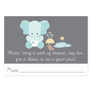 Blue Elephant Little Bird Diaper Raffle Tickets Large Business Cards (Pack Of 100)