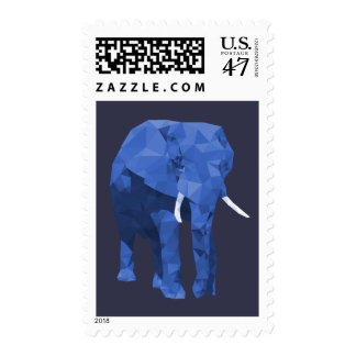 Blue Elephant Low Poly Art Postage