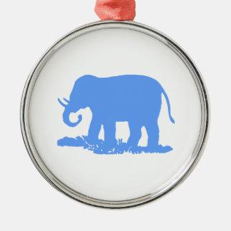Blue Elephant Metal Ornament