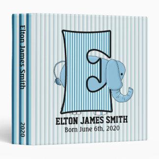 "Blue Elephant Monogrammed ""E"" Baby Scrapbook Binder"