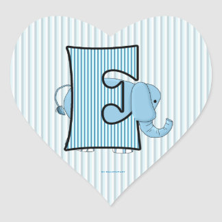 "Blue Elephant Monogrammed ""E"" Heart Stickers"