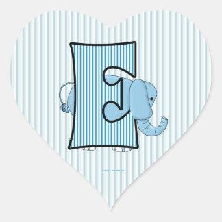 "Blue Elephant Monogrammed ""E"" Heart Stickers"