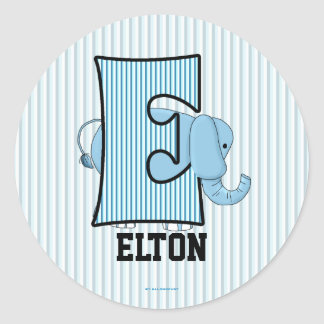 Blue Elephant Monogrammed E Personalized Stickers