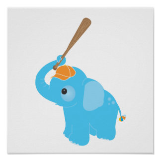 Blue Elephant Nursery Wall Art Print