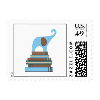Blue elephant on books boy baby shower stamps
