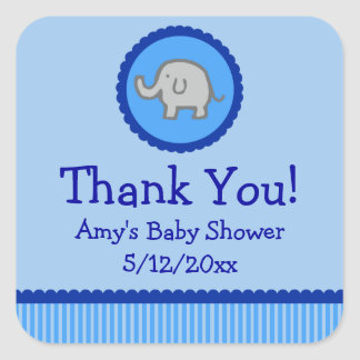 Blue Elephant Personalized Baby Shower Favor Tags