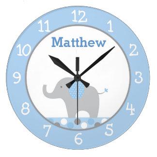 Blue Elephant Personalized Nursery Wall Clock