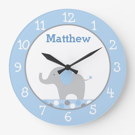 Blue Elephant Personalized Nursery Wall Clock