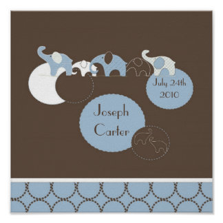 Blue Elephant Personalized Room Poster