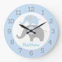 Blue Elephant Personalized Wall Clock