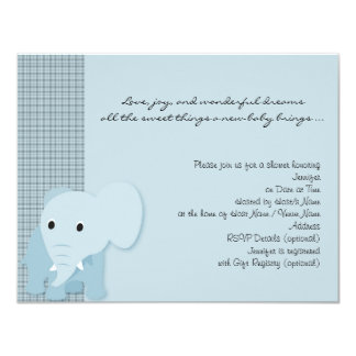 Blue Elephant Plaid Baby Shower Invitation