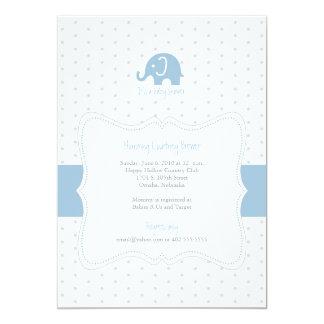 Blue Elephant Polkadot Baby Shower Invitation