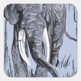 Blue Elephant Square Stickers