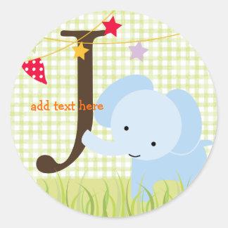 Blue Elephant stickers/add monogram