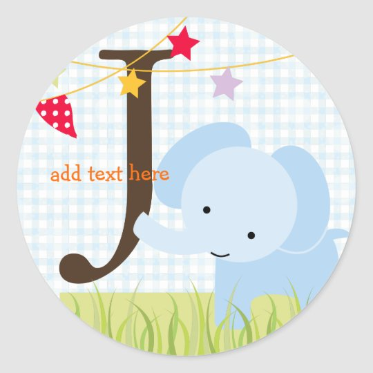 Blue Elephant stickers/add monogram Classic Round Sticker