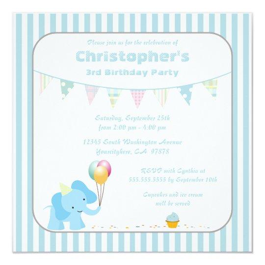 Blue elephant stripes birthday party invitation