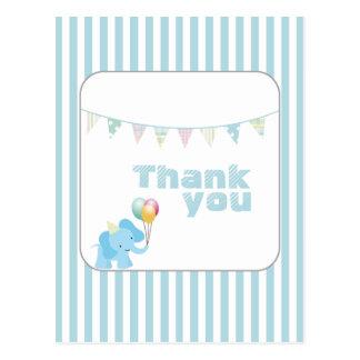 Blue elephant stripes thank you postcard
