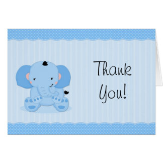 Blue Elephant Thank You Baby Shower Card