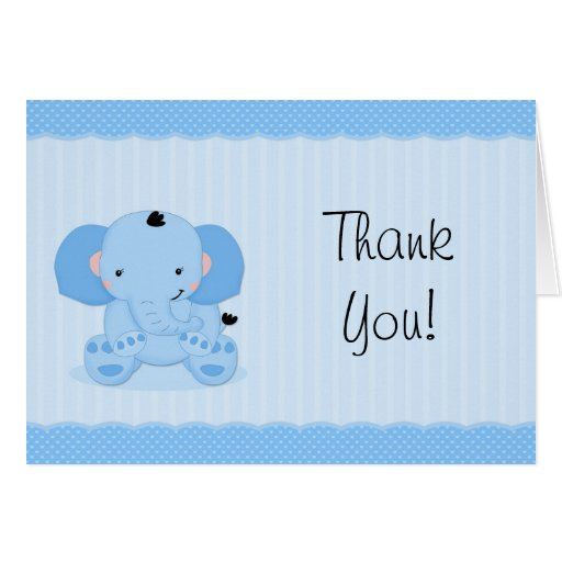 Blue Elephant Thank You Baby Shower Stationery Note Card