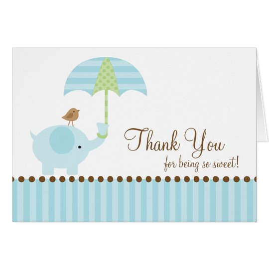 Blue Elephant Thank You Note Card