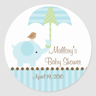 Blue Elephant Umbrella Baby Shower Sticker