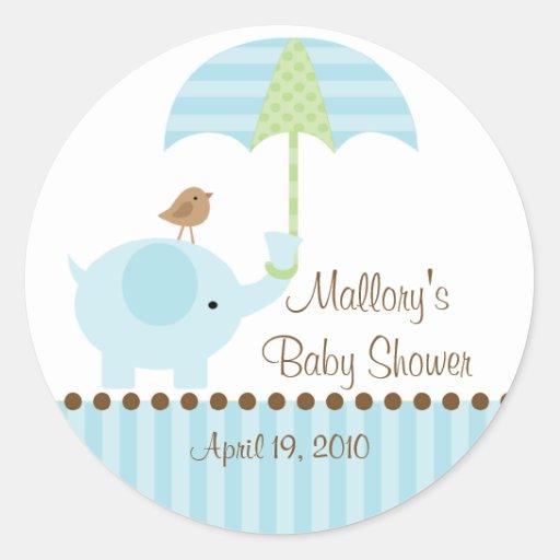 prints sticker blue elephant umbrella baby shower sticker