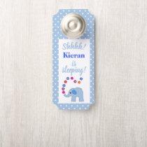 Blue Elephant With Flowers Baby Is Sleeping Door Hanger