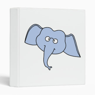 Blue Elephant with Glasses. Cartoon. Binder