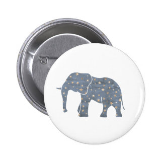 Blue Elephant with Gold Stars Button