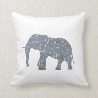 Blue Elephant with Gold Stars Throw Pillow