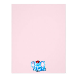 Blue Elephant with Red Hat Cartoon Letterhead