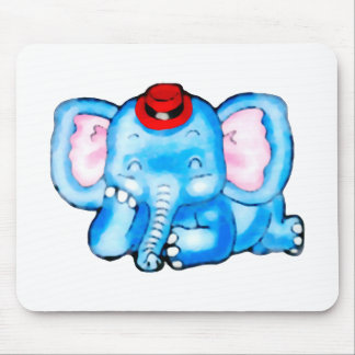 Blue Elephant with Red Hat Cartoon Mouse Pad