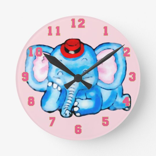 Blue Elephant with Red Hat Cartoon Round Clock