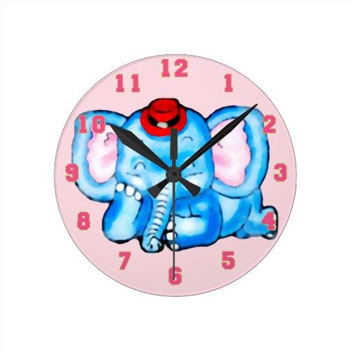 Blue Elephant with Red Hat Cartoon Round Clocks