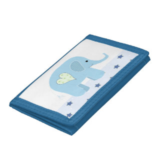 Blue Elephant with Stars Trifold Wallets