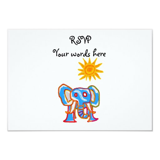 "Blue elephant with sunshine 3.5"" x 5"" invitation card"