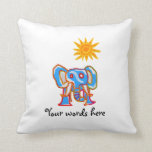 Blue elephant with sunshine throw pillow